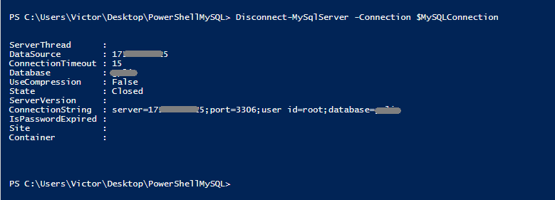 Cerrando una sesión de MySQL desde PowerShell